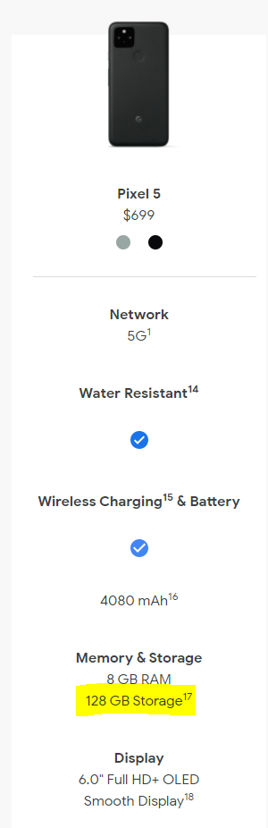 Google Pixel 5 Limited to a single Storage configuration of 128GB